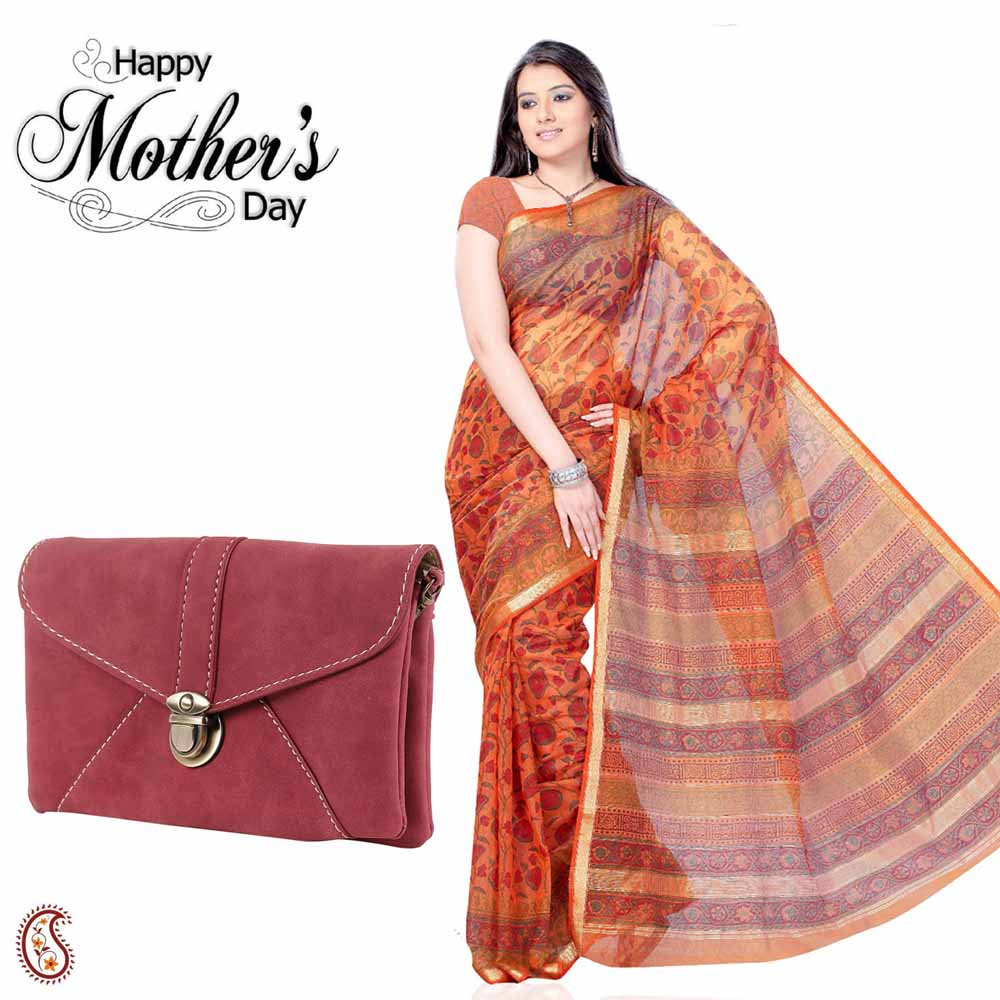 Shiny Orange Saree & maroon Sling Bag