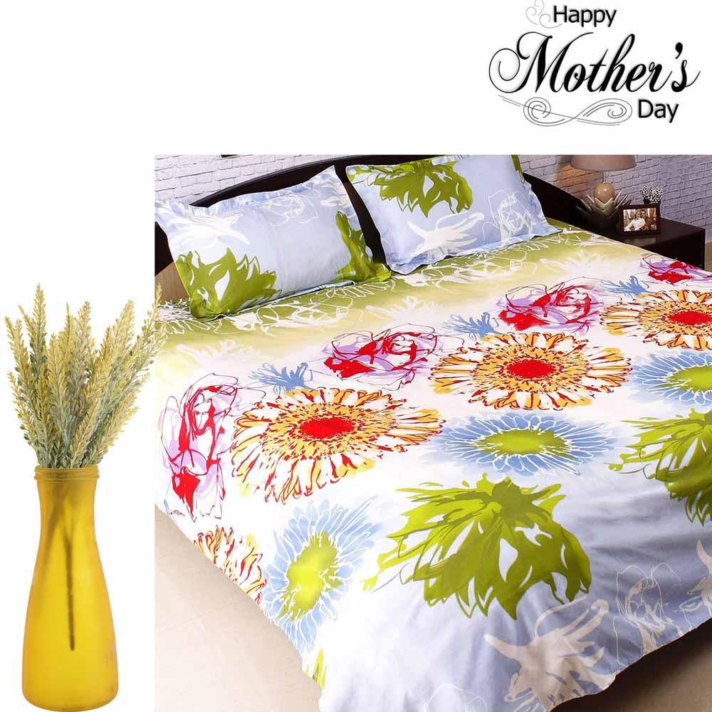 Beautiful Printed Bedsheet & Artiicial Flower Set