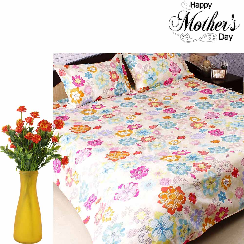 Classy Printed Bedsheet & Artificial Flowers