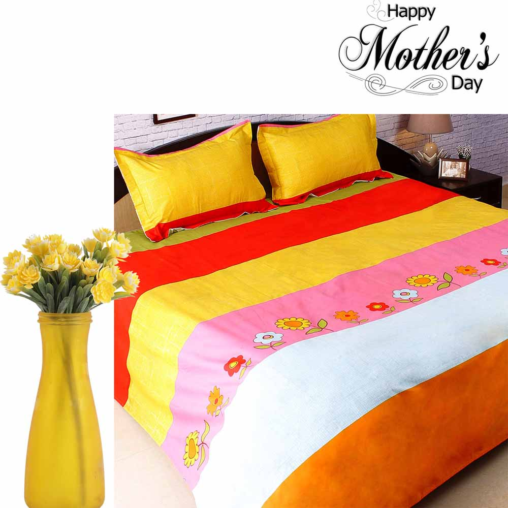 Printed Cotton Bedsheet & Artificial Flowers