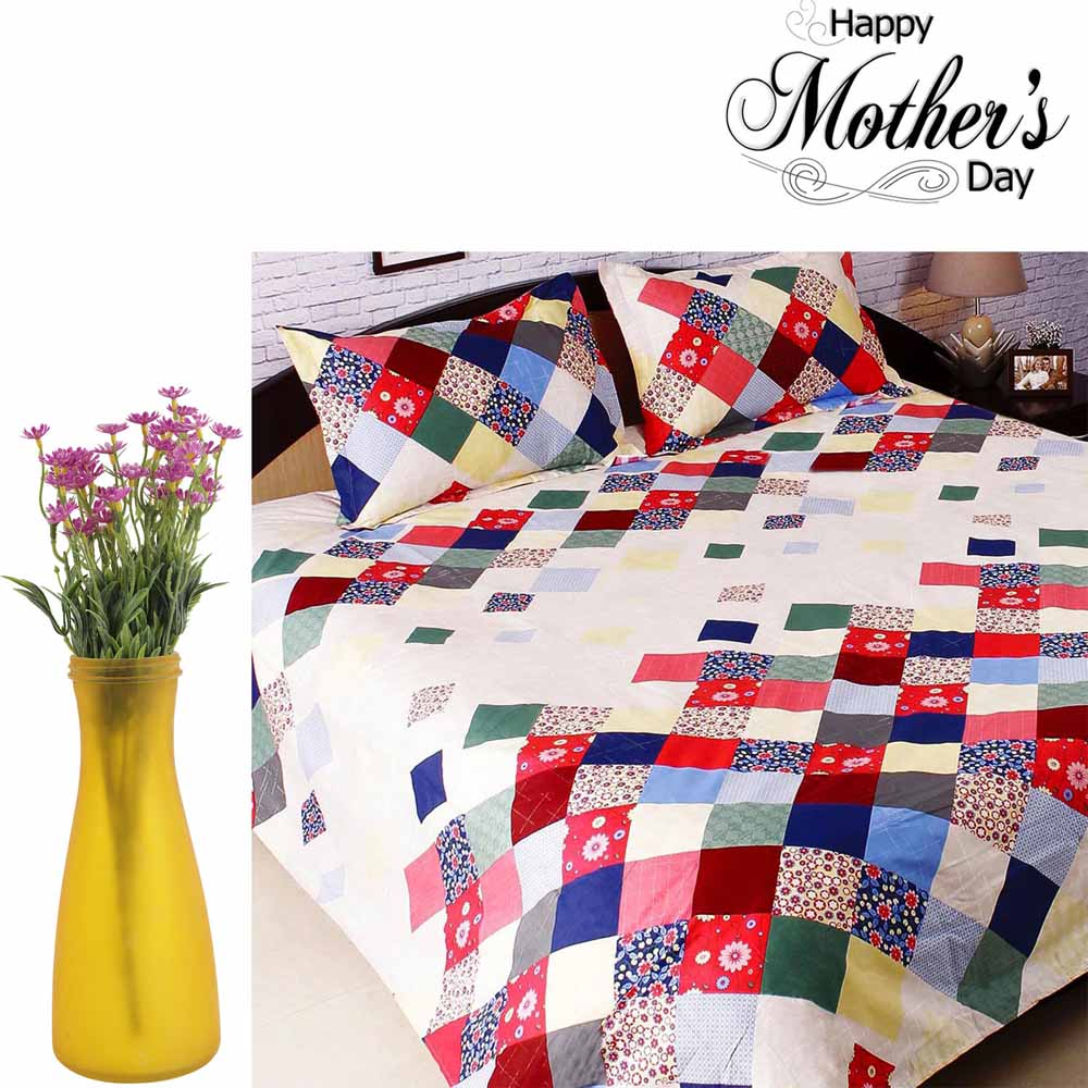 Set of Cotton printed Bedsheet & Plastic Artificial Flowers
