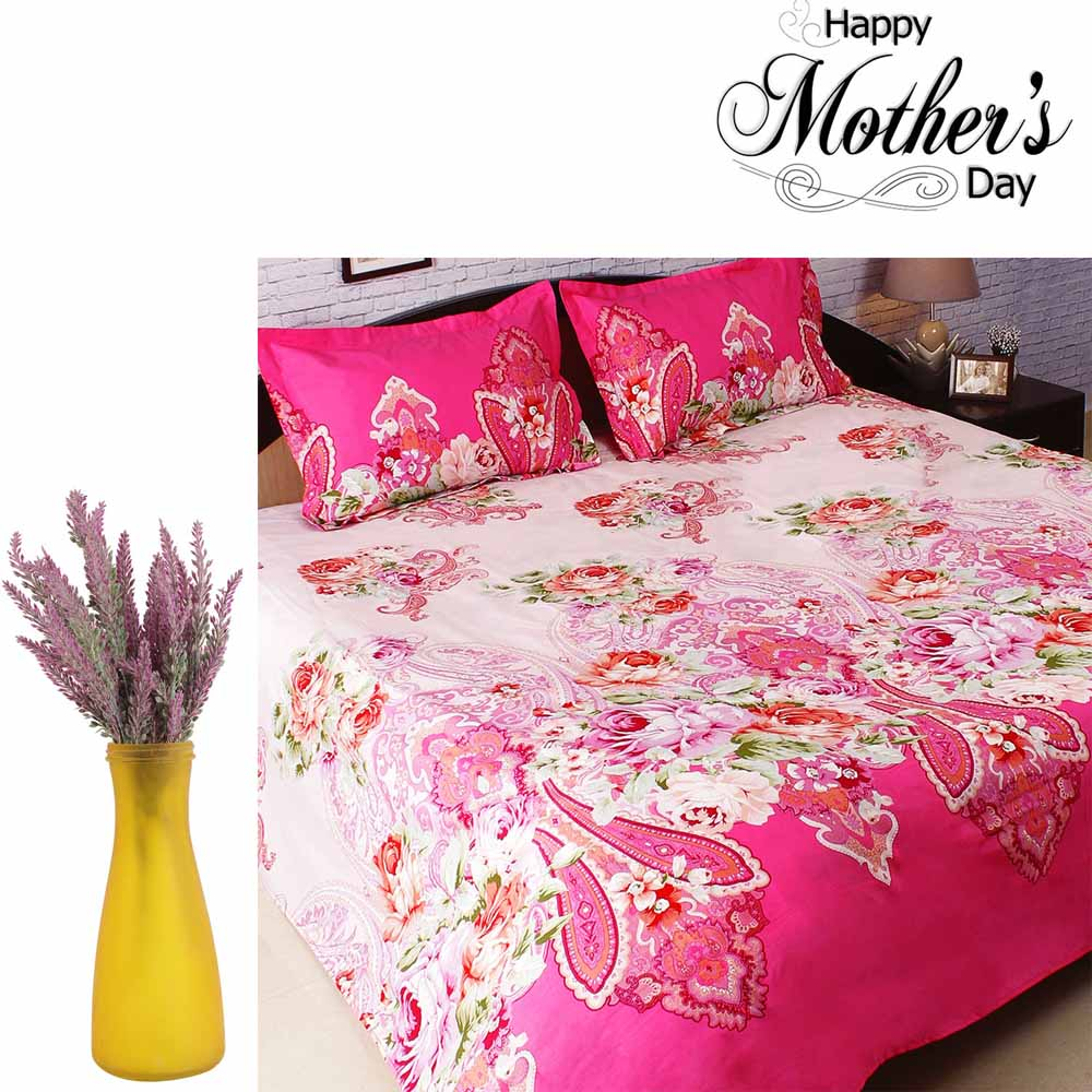 Combo of Pink Bedsheet & Purple Decorative Flowers
