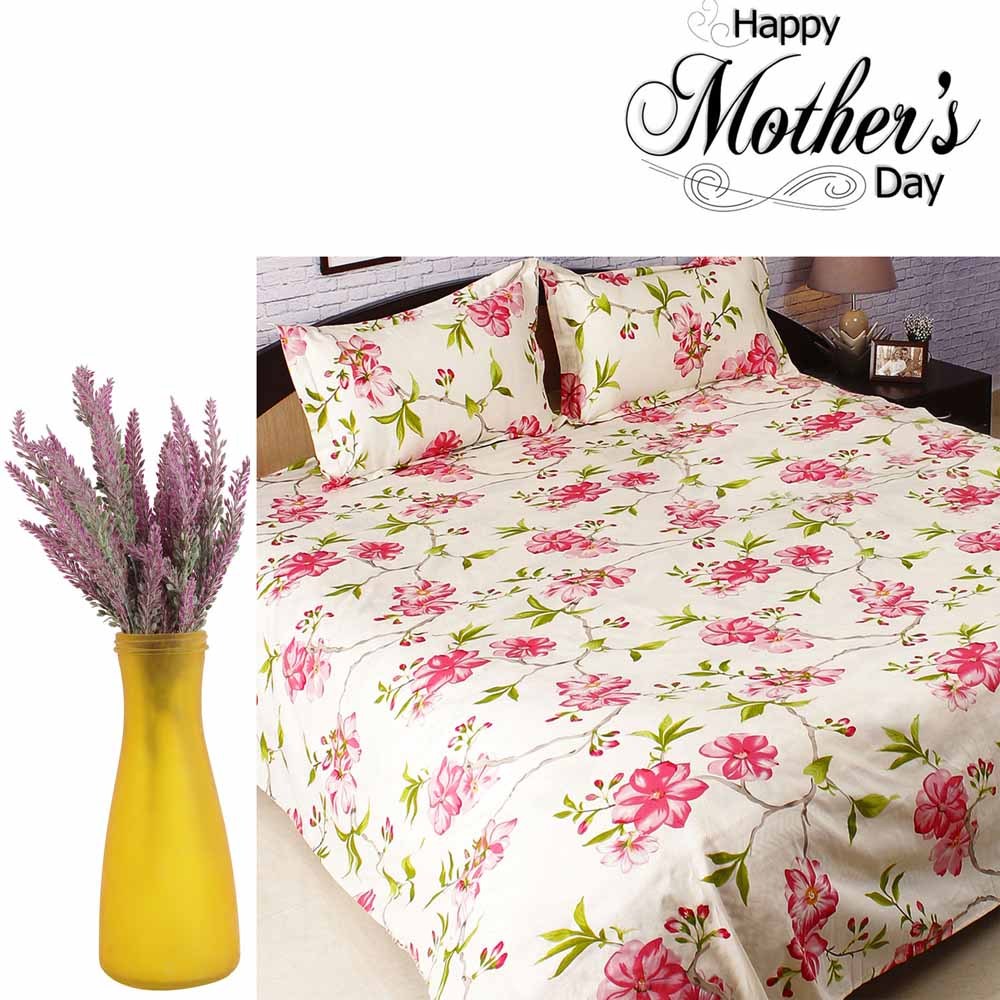 Combo of Bedsheet & Dashing Decorative Flowers