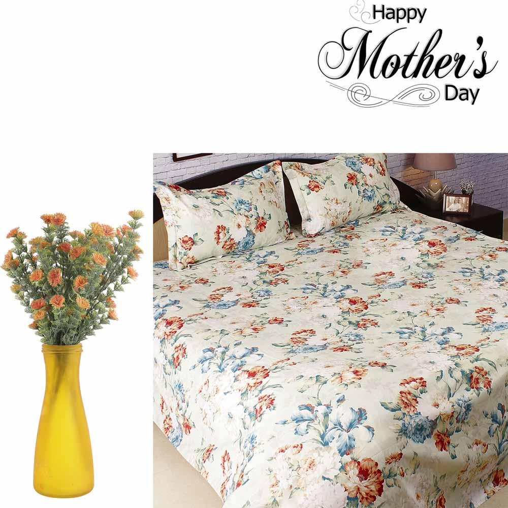 Beautiful Bedsheet & Artificial Flowers