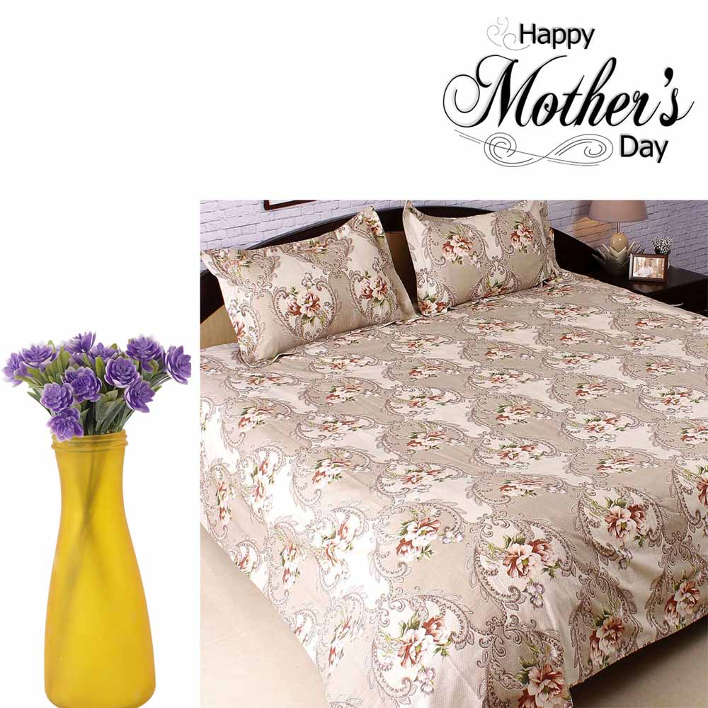 Awesome Purple Decorative Flowers & Cotton Bedsheet