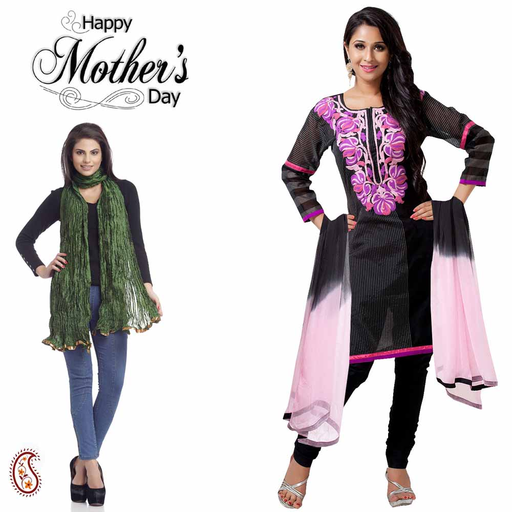 Set of Black Suit & Green Dupatta
