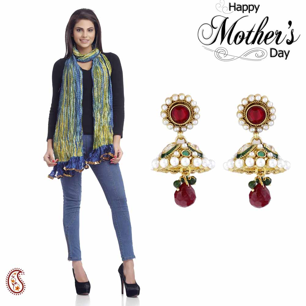 Set of Traditional Jhumkas & Dupatta
