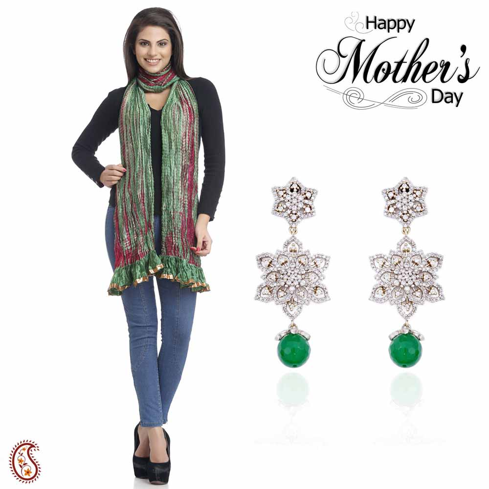 Combo of Beautiful Chandelier Earrings & Dupatta
