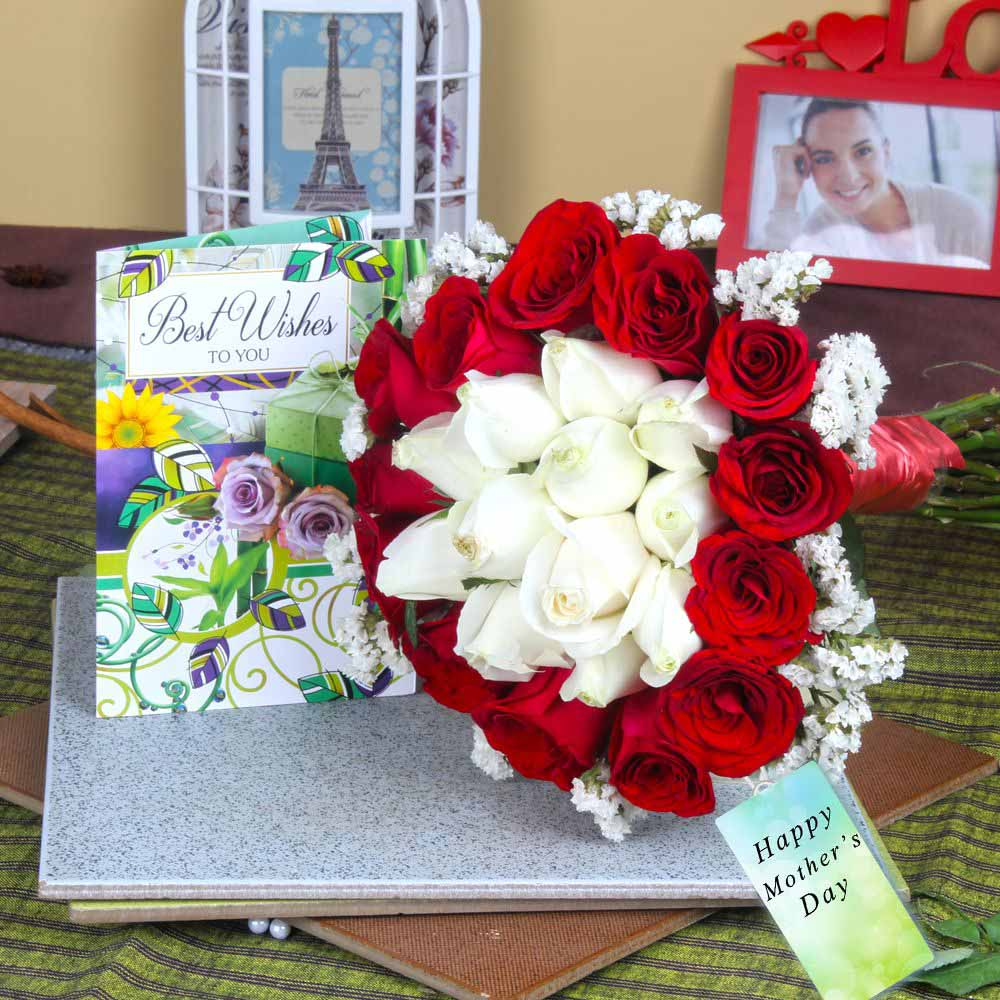 Fresh Roses with Best Wishes Greeting Card