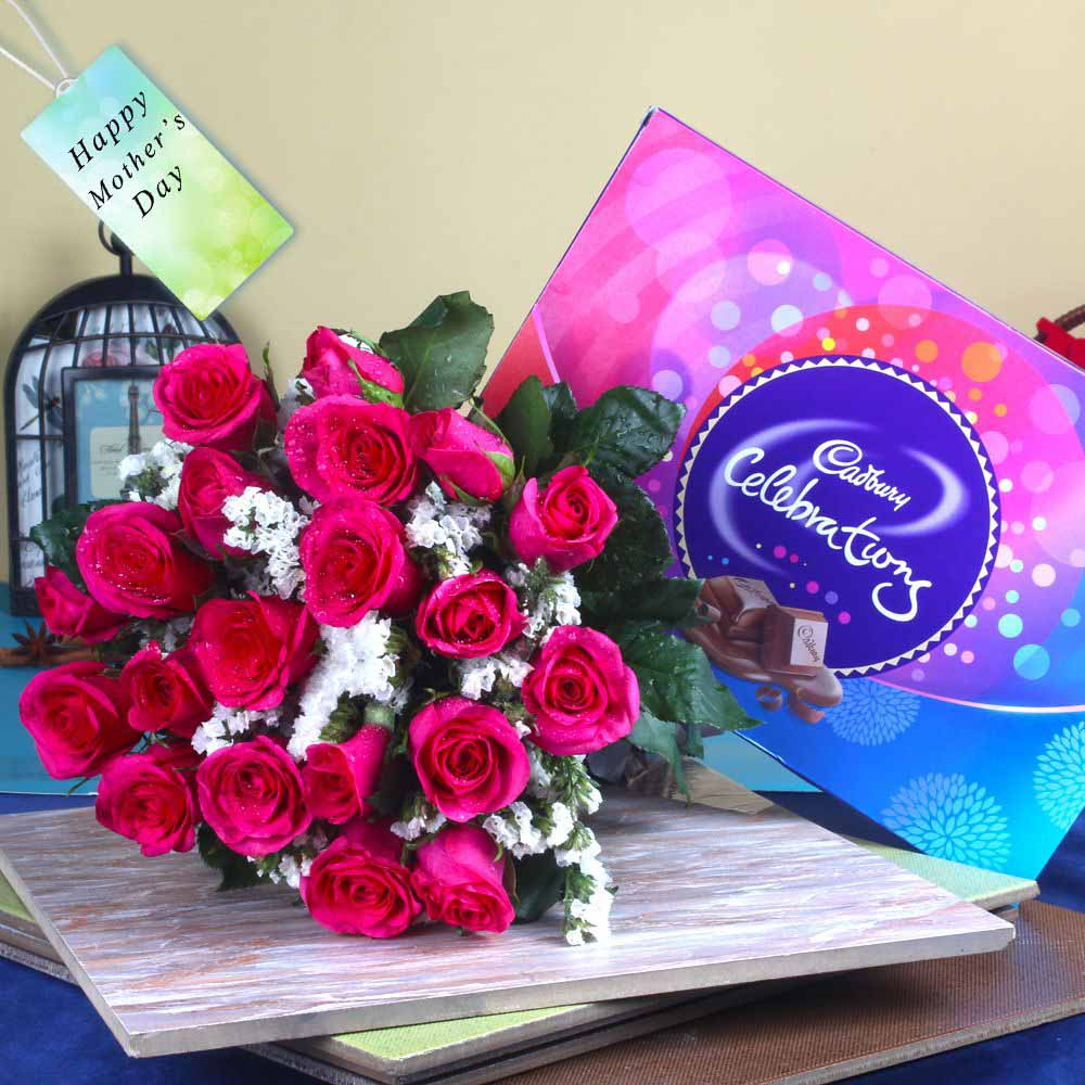 Celebration Chocolate Pack with Pink Roses Bouquet