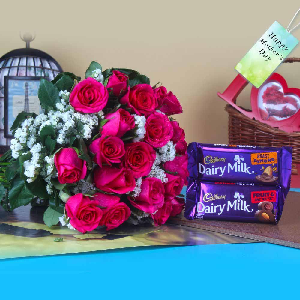 Chocolates with Fresh Roses