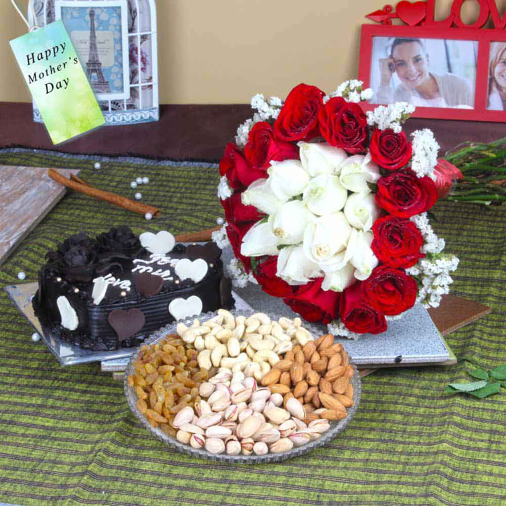 Exclusive Roses Bouquet with Cake and Dryfruits