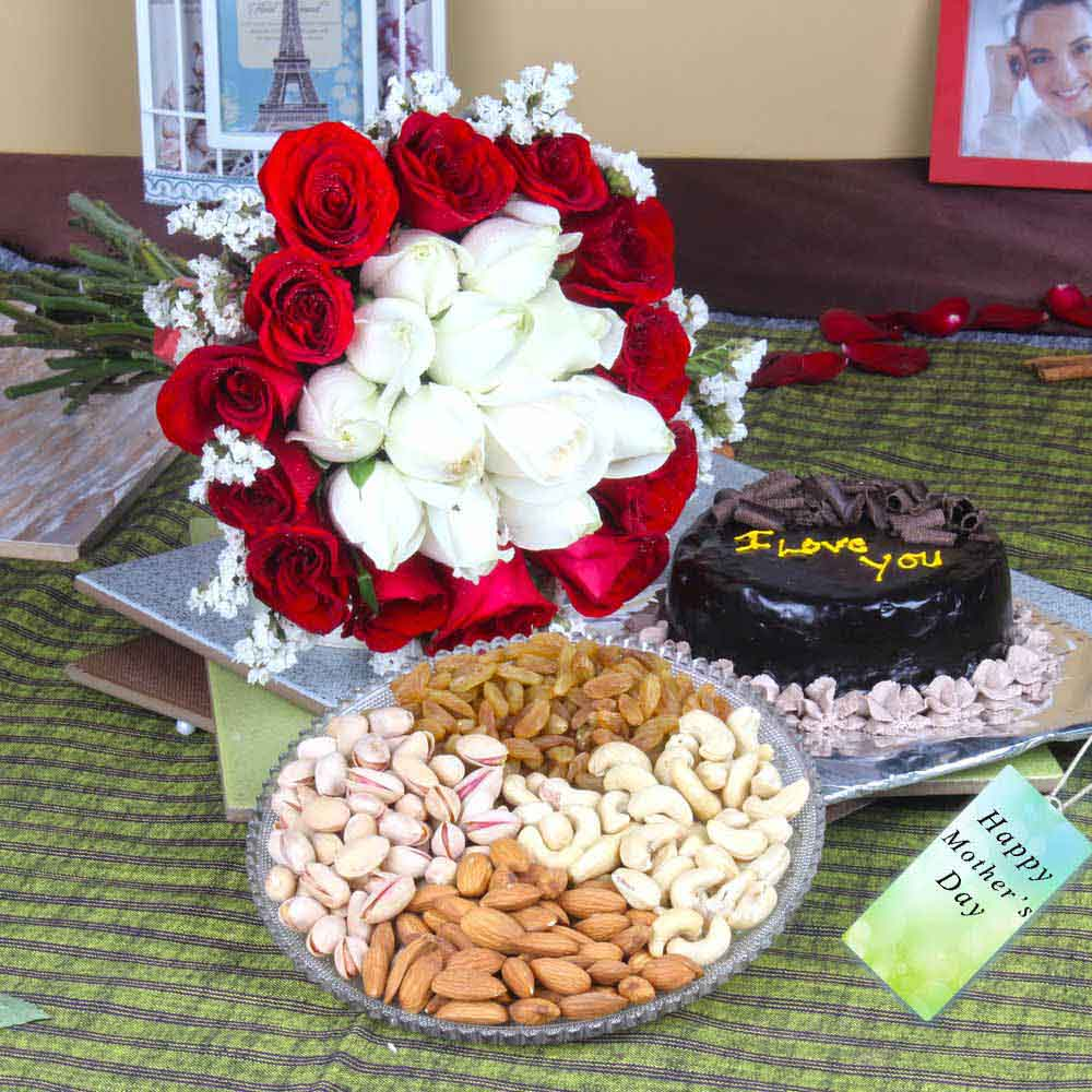 Chocolate Cake with Mix Dryfruits and Roses Bouquet