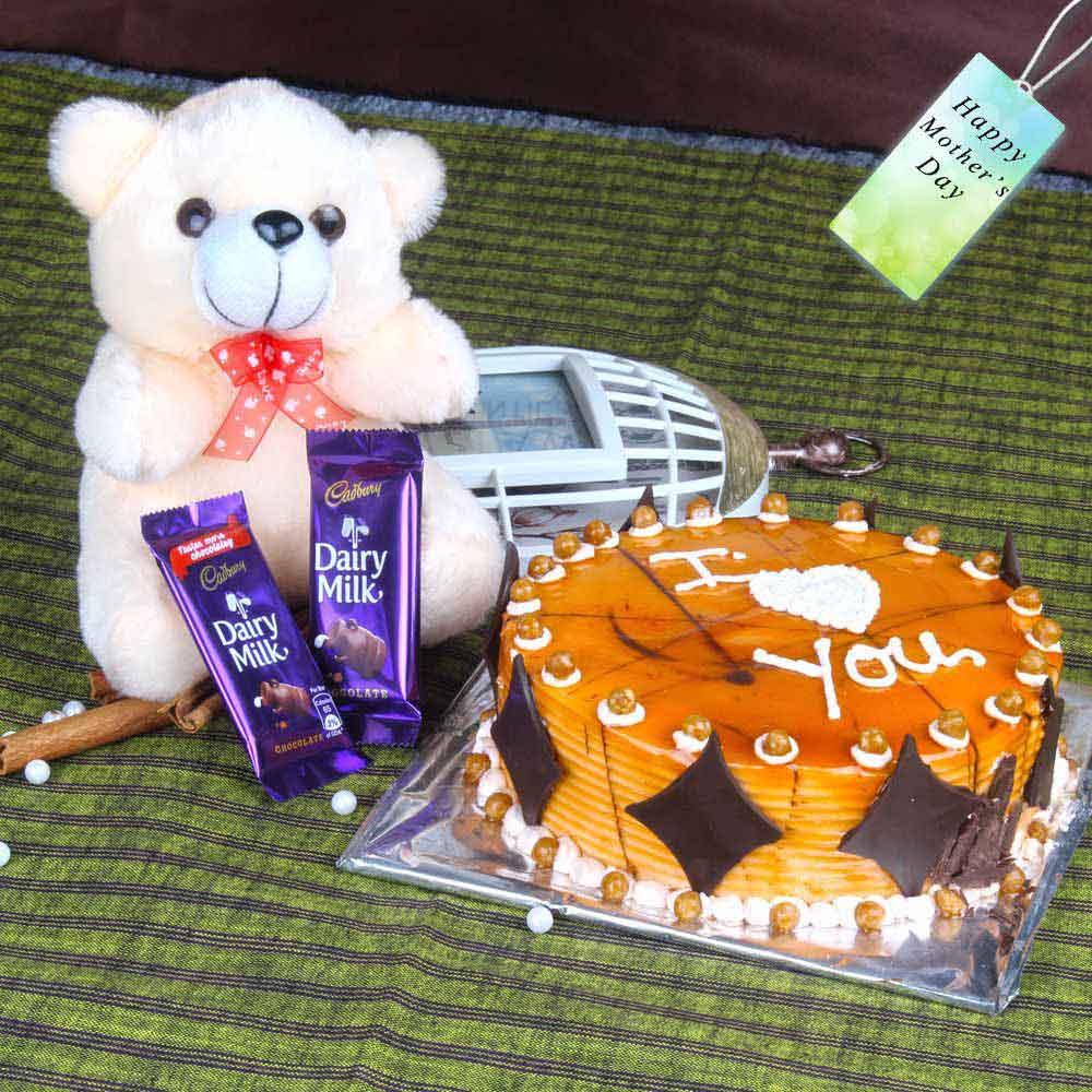 Teddy Bear with Cake and Chocolates