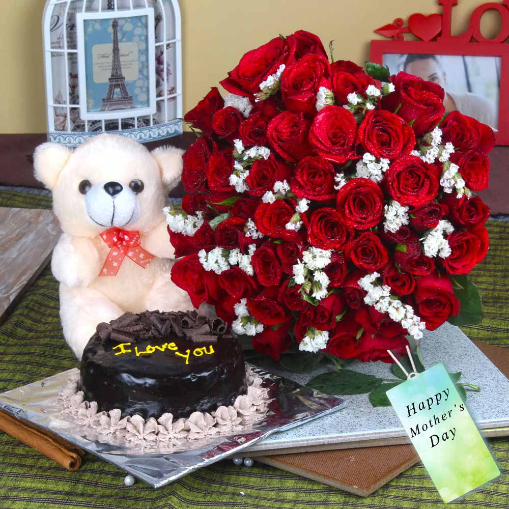 Fifty Red Roses and Cake with Teddy