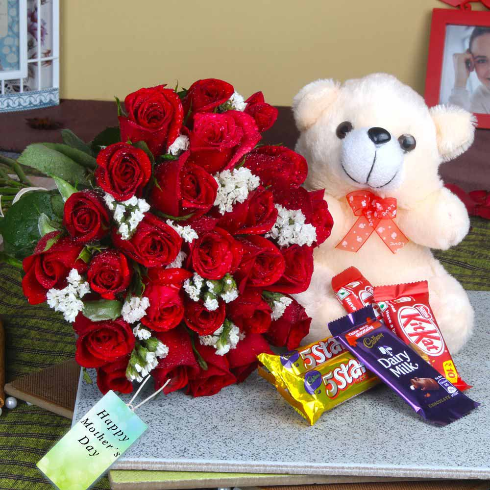 Cute Teddy and Chocolates with Fresh Roses