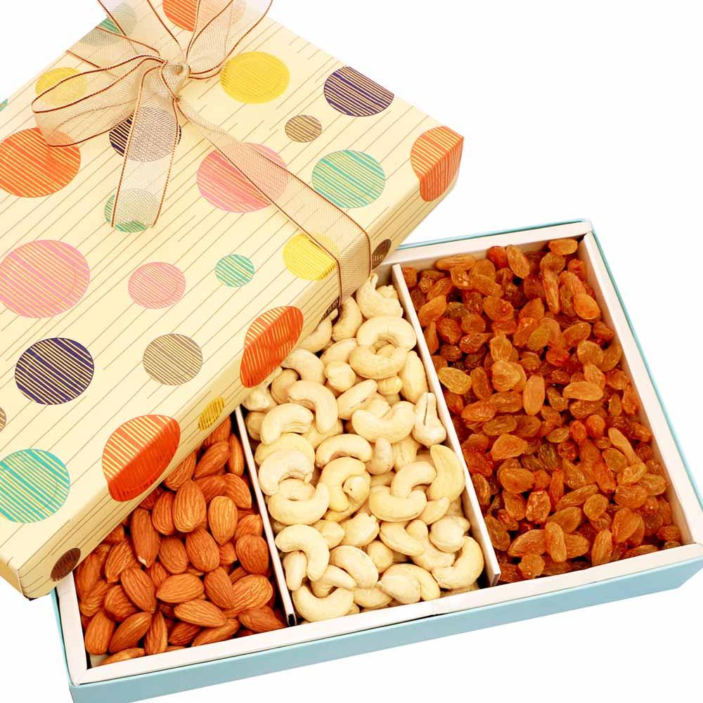Mothers Day-Polka Printed Dryfruit Box 300 gms