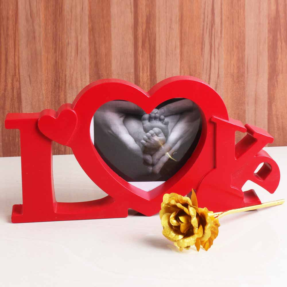 Love Shape Frame for MOM with Golden Rose