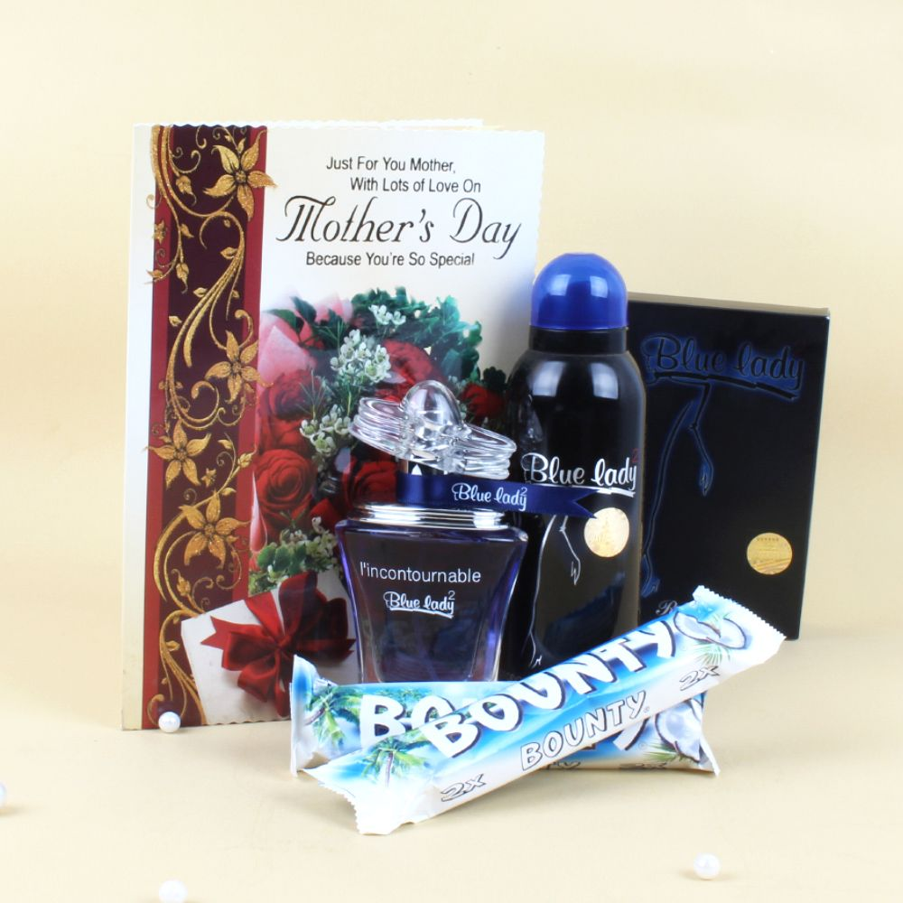 Blue Lady Perfume and Bounty Chocolates with Greeting Card