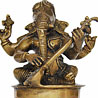 Meditative Brass Ganesha Playing Sitar