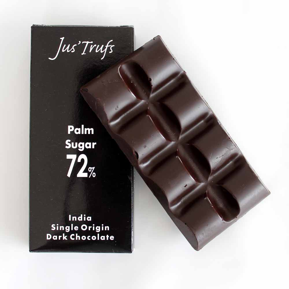 Set of two Artisanal 72% dark with palm sugar Chocolate Bar80 gm