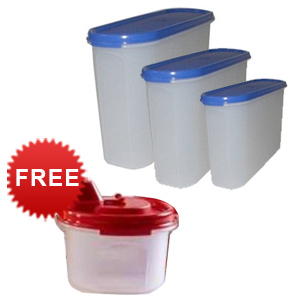 Tupperware Modular Mates Oval - Set of 4 + Free Little Magic Flow