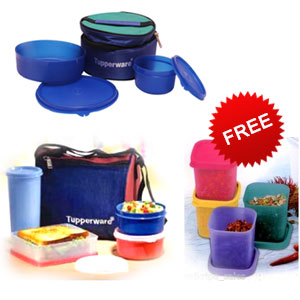 Tupperware Classic Lunch & Best Lunch with Insulated Bag + Free 2 Freezer Set