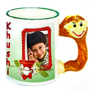 Personalized Animal Handle Photo Mug - Monkey