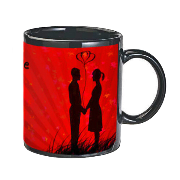 Personalized Love Black Photo Mug with Premium Chocolates