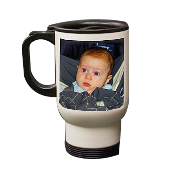 Personalized Steel Photo Travel Mug White