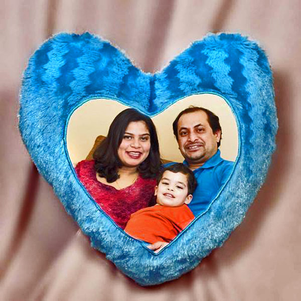 Personalized Custom Blue Heart Shape Fur Pillow