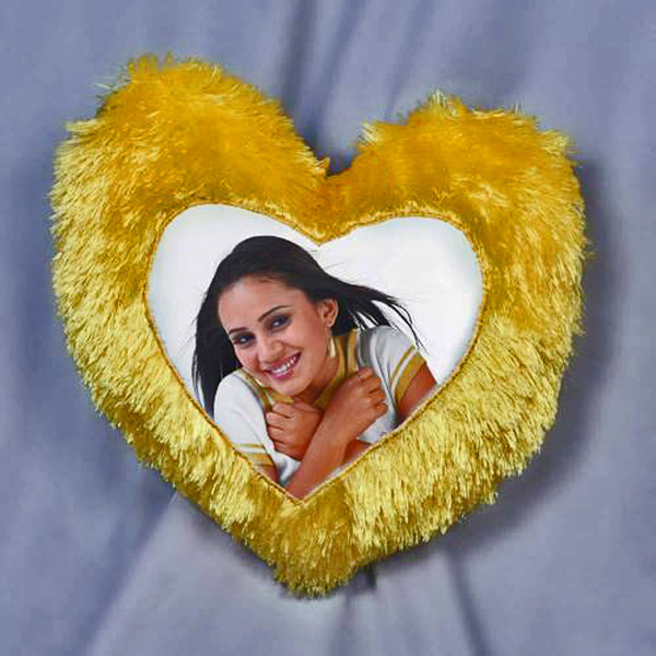 Personalized Fur Yellow Heart Cushion