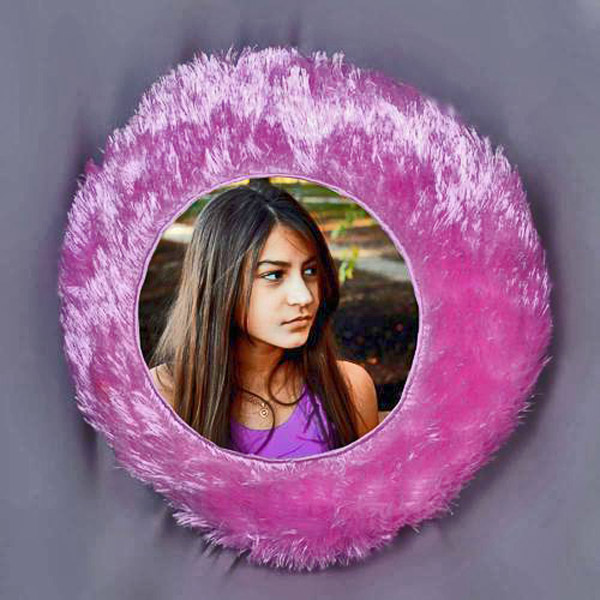Personalized Pink Round Fur Pillow
