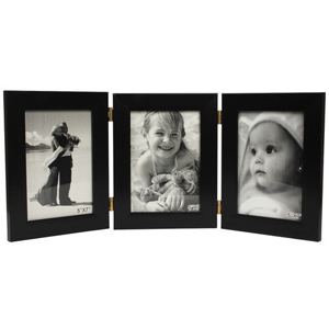 Photo Frame-Three Folding Photo Frame - Black