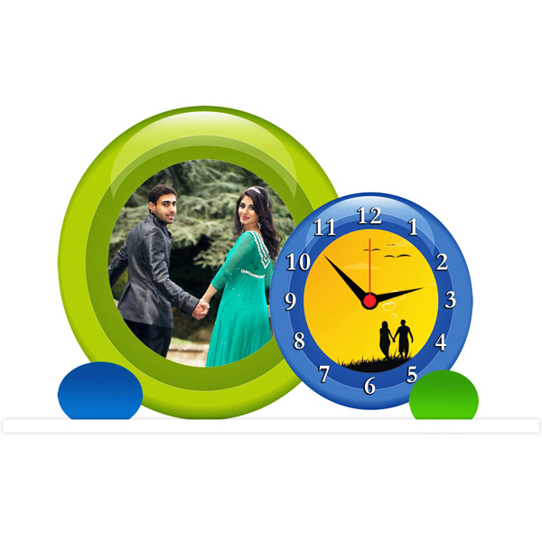 Personalized Round Photo with Clock