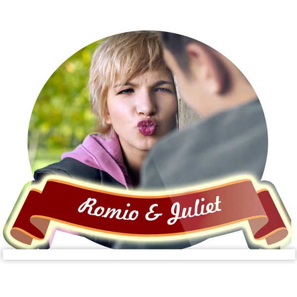 Personalized Romio and Juliet Round Acrylic Frame