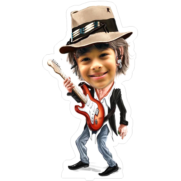 Personalized Rockstar with Guitar Caricature Photo Stand