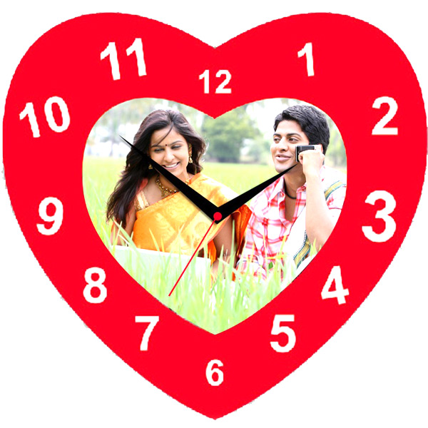 Personalized Red Heart Clock