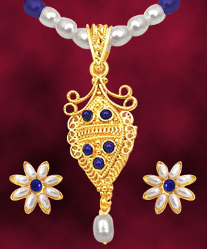 24kt Gold Plated Pendant & Pearl Set