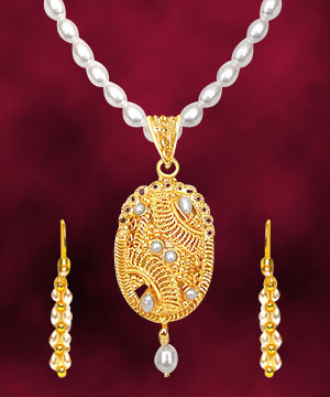 24kt Gold Plated Pendant & Freshwater Pearl Set