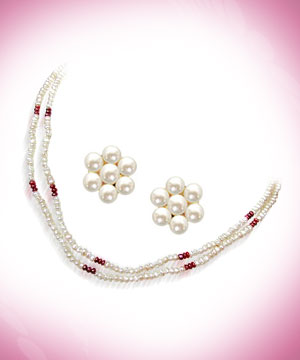 Red Garnet & Freshwater Pearl Set