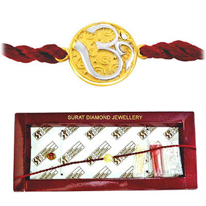 OM Diamond and Gold Two Tone Rakhi