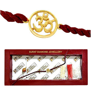 OM Diamond and Gold Rakhi
