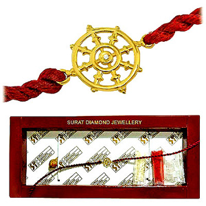 Dharma Chakra Diamond and Gold Rakhi