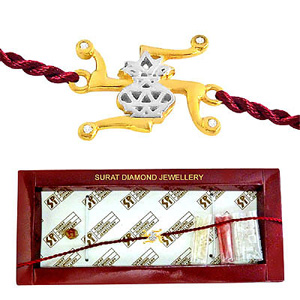 Swastik-Kalash Diamond and Gold Rakhi