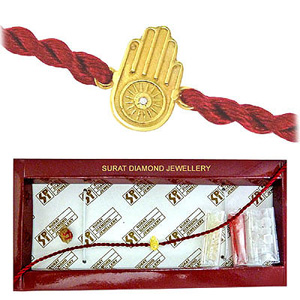 Hamsa Hand Diamond and Gold Rakhi
