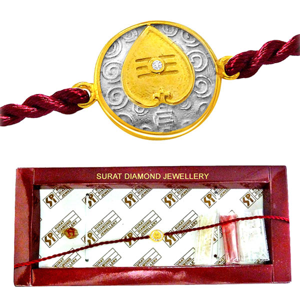 Vel Diamond and Gold Rakhi