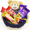 Gift Chocolates In Cute Basket on Rakhi