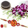 Gift Rakhi Exotic Orchids N Cake on Rakhi