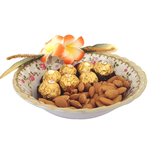 Chocolate Hampers-Ferrero & Almonds in Floral Bowl